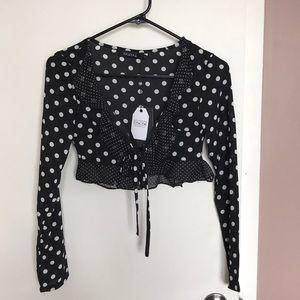 Tops - Polka dot crop top long sleeve size xxs/xs
